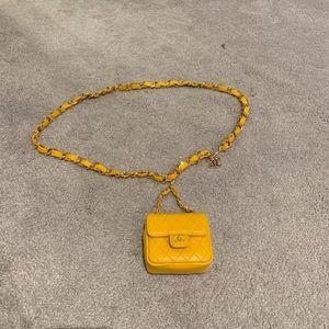 Vintage Chanel Yellow Calfskin Micro Mini Belt Bag